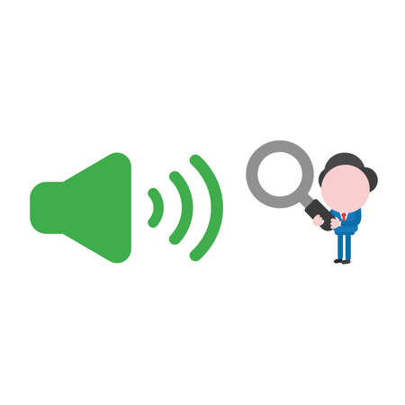 Vector illustration businessman character holding magnifying glass and looking to green sound on icon.