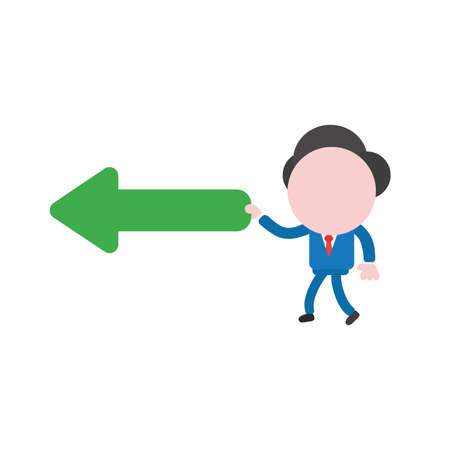 Vector illustration businessman character walking and holding green arrow pointing left. Illustration