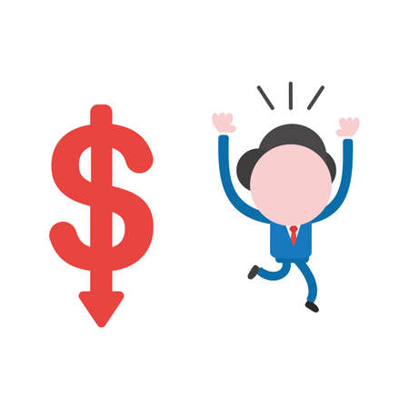 Vector illustration businessman character running away from dollar arrow moving down.