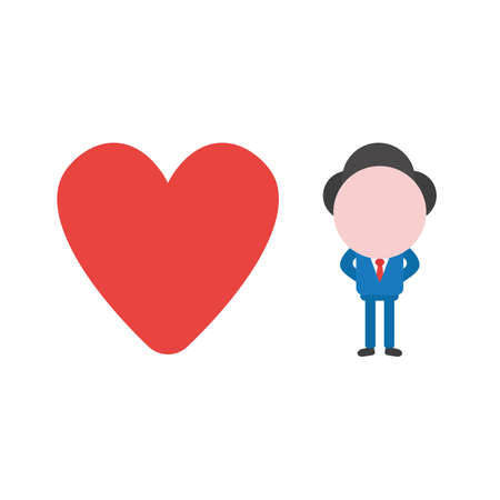 Vector illustration businessman character with red heart icon. Çizim