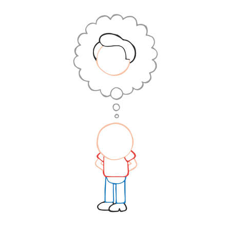 Vector hand-drawn cartoon illustration of bald man standing imagine with thought bubble of hair. Çizim