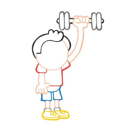 Illustrazione del fumetto disegnato a mano di vettore dell'uomo in piedi che pompa i manubri Vettoriali