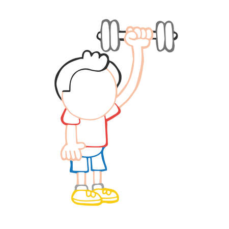 Vector hand-drawn cartoon illustration of man standing pumping dumbbells Stock Illustratie