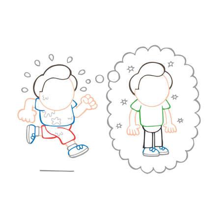 Illustration de dessin animé dessinée à la main de vecteur d'homme en cours d'exécution rêvant de perdre du poids bulle de pensée.
