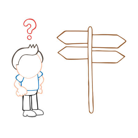 Vector hand-drawn cartoon illustration of confused lost man standing in front of directional sign.
