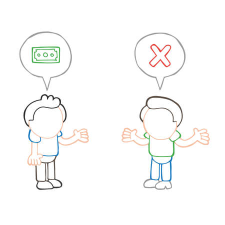 Vector hand-drawn cartoon illustration of man asking another man for money and refused.