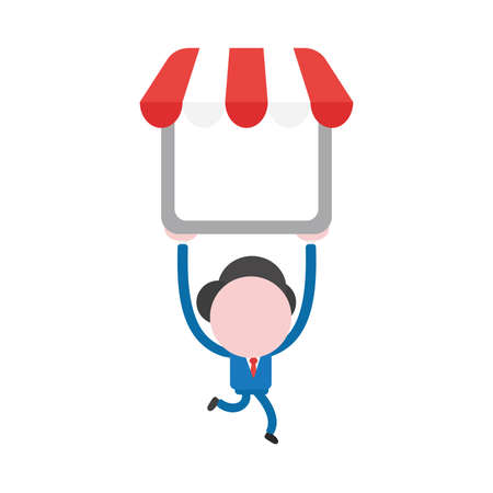 Vector illustration businessman character running and carrying shop store.
