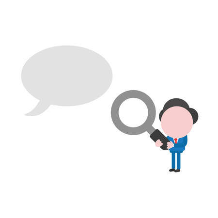 Vector illustration businessman character holding magnifying glass and looking at blank speech bubble.