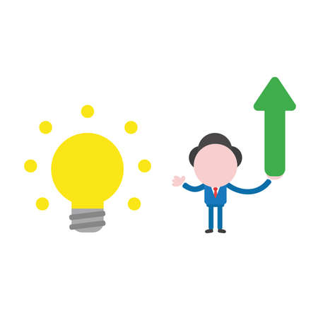 Vector illustration businessman character with glowing light bulb and holding arrow moving up. Illustration