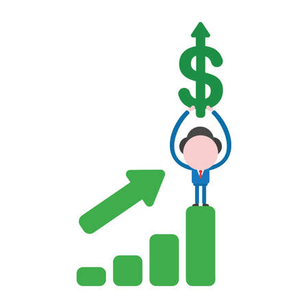 Vector illustration businessman character standing on sales bar chart moving up and holding up dollar symbol with arrow moving up.