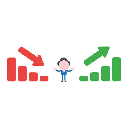 Vector illustration businessman character between sales bar charts moving down and up.