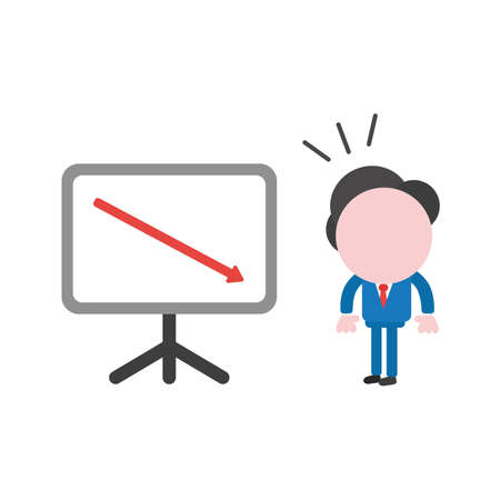 Vector illustration businessman character looking sales chart arrow moving down. Stock Illustratie