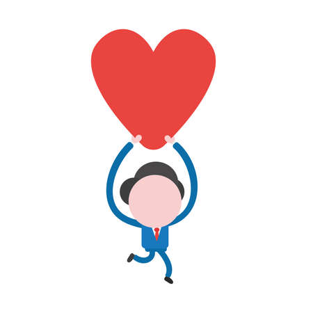 Vector illustration businessman character running and carrying red heart.