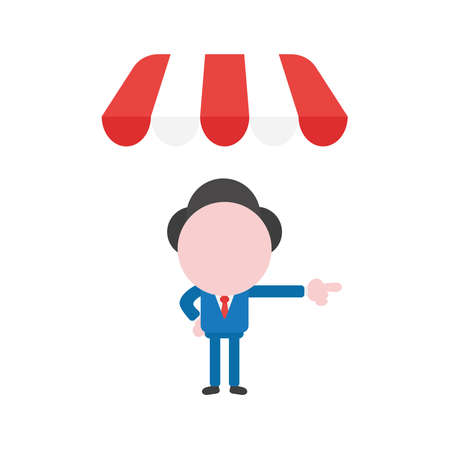 Vector illustration businessman character under shop store awning and pointing.