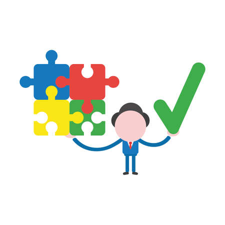 Vector illustration businessman character holding connected jigsaw puzzle pieces and check mark.
