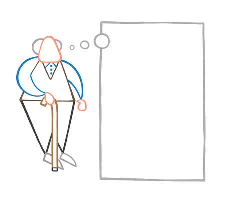 Vector illustration cartoon old man standing with wooden walking stick and dreaming or thinking with blank thought bubble.