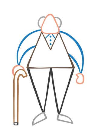 Vector illustration cartoon old man standing with wooden walking stick. Illustration