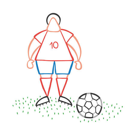 Vector illustration cartoon soccer player man standing with soccer ball.