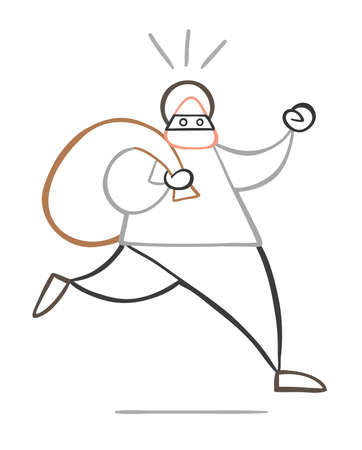 Vector illustration cartoon thief man with face masked running and carrying sack. Illustration