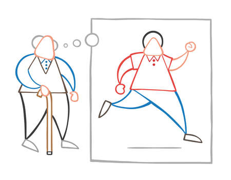 Vector illustration cartoon old man walking with wooden walking stick and dreaming or thinking his youth and running with thought bubble.