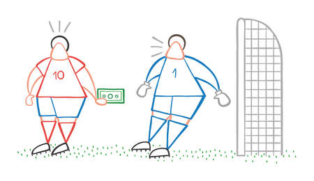 Vector illustration cartoon soccer player man offering bribe to goalkeeper. 일러스트