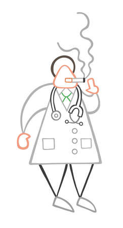 Vector illustration cartoon doctor man standing and smoking cigarette.