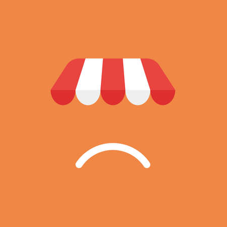 Flat vector icon concept of shop store awning with sulking mouth on orange background.