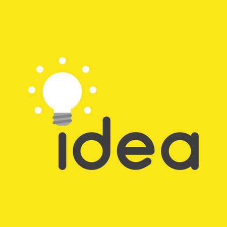 Flat vector icon concept of idea word with glowing light bulb on yellow background.