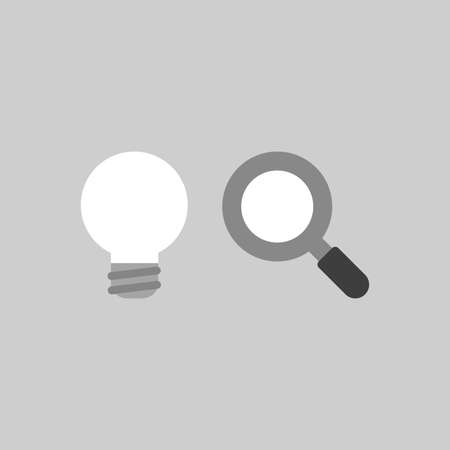 Flat vector icon concept of grey light bulb with magnifying glass on grey background.