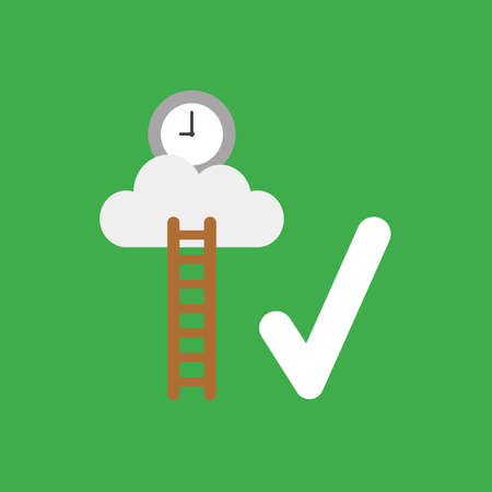 Flat vector icon concept of wooden ladder and clock on cloud with check mark on green background.
