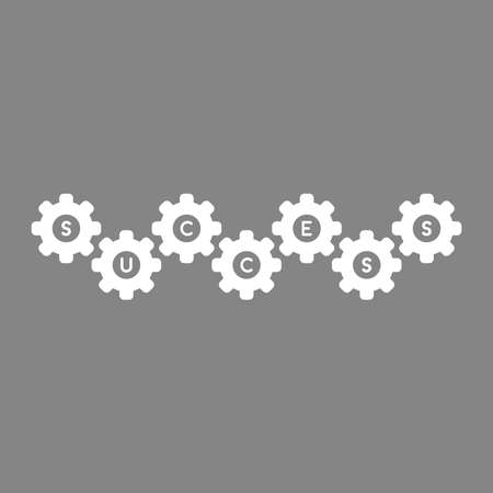 Flat vector icon concept of gears with success word on green background.
