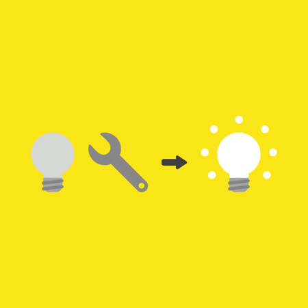 Flat vector icon concept of grey light bulb, spanner and glowing on yellow background.