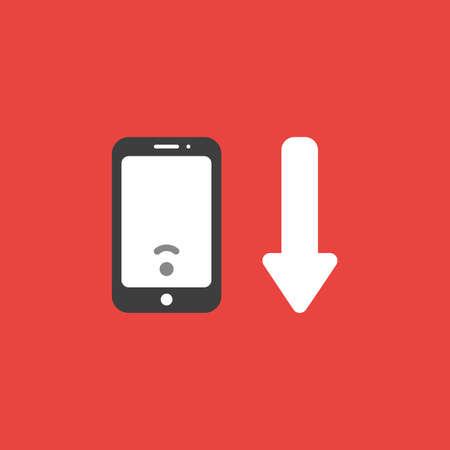 Flat vector icon concept of low wireless wifi symbol inside smartphone and arrow moving down on red background.