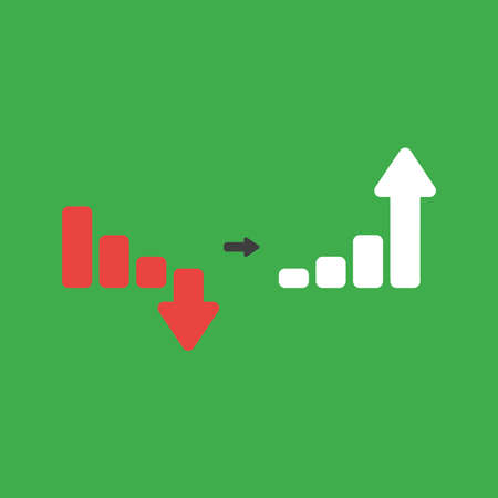 Flat vector icon concept of sales bar graph moving down and up on green background.