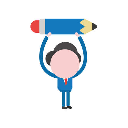 Vector illustration businessman character holding up pencil.