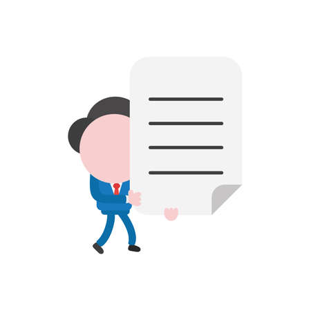 Vector illustration businessman character walking and holding written paper.