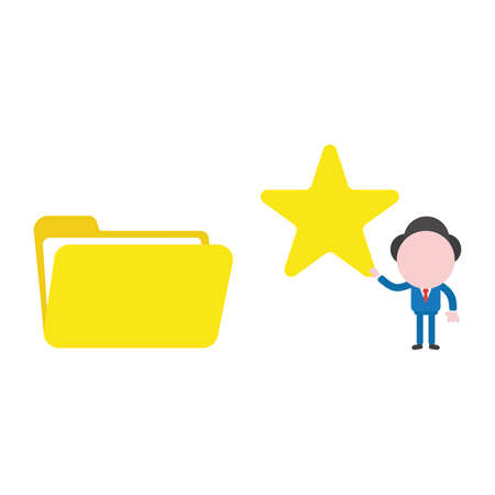 Vector illustration businessman character holding star to open file folder.