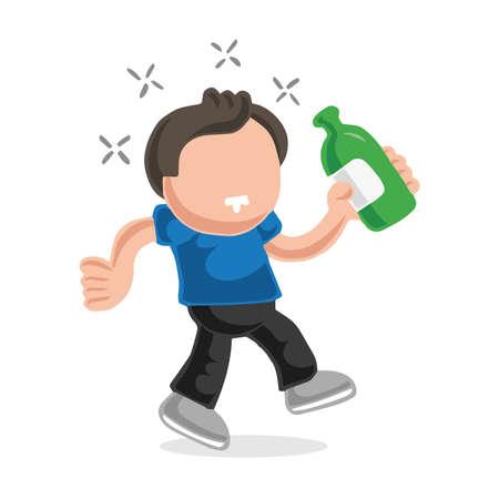 Vector hand-drawn cartoon illustration of drunk man walking holding bottle of beer. Illustration
