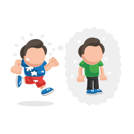 Vector hand-drawn cartoon illustration of running man dreaming of losing weight thought bubble.