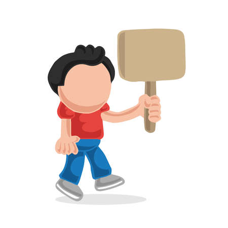 Vector hand-drawn cartoon illustration of man walking holding blank placard.