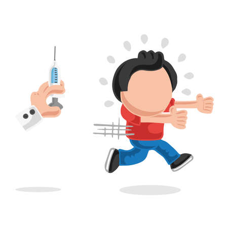 Vector hand-drawn cartoon illustration of man afraid and running from doctor's syringe. Stock Illustratie