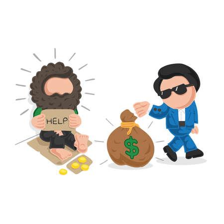 Ilustración de dibujos animados dibujados a mano de vector de hombre rico dando bolsa de dinero a personas sin hogar en la acera y sin hogar se sorprende.