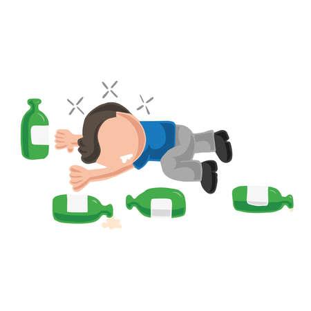 Vector hand-drawn cartoon illustration of drunk man lying on floor with empty beer bottles. Vectores