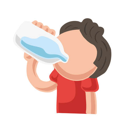 Vector hand-drawn cartoon illustration of man drinking bottle of water.