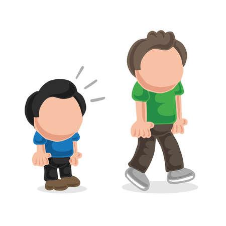 Illustrazione del fumetto disegnato a mano di vettore dello sguardo dell'uomo basso e dell'uomo alto invidia. Vettoriali
