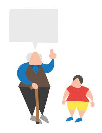 Vector illustration cartoon old man with walking stick, talking to his grandson and advising. Ilustração Vetorial