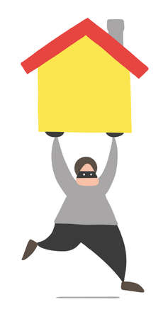 Vector illustration cartoon thief man with face masked running and carrying house.