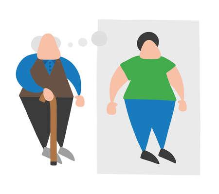 Wektor ilustracja kreskówka stary człowiek stojący z drewnianą laską i marzy lub myśli swoją młodość z bańki myśli.