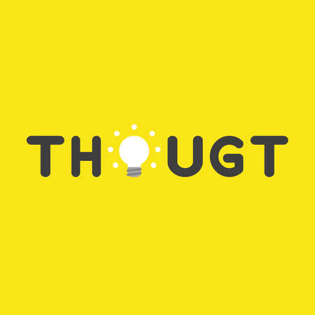 Flat vector icon concept of thought word with glowing light bulb on yellow background.