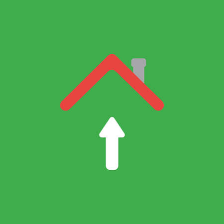 Flat vector icon concept of arrow moving up under house roof on green background. Illustration